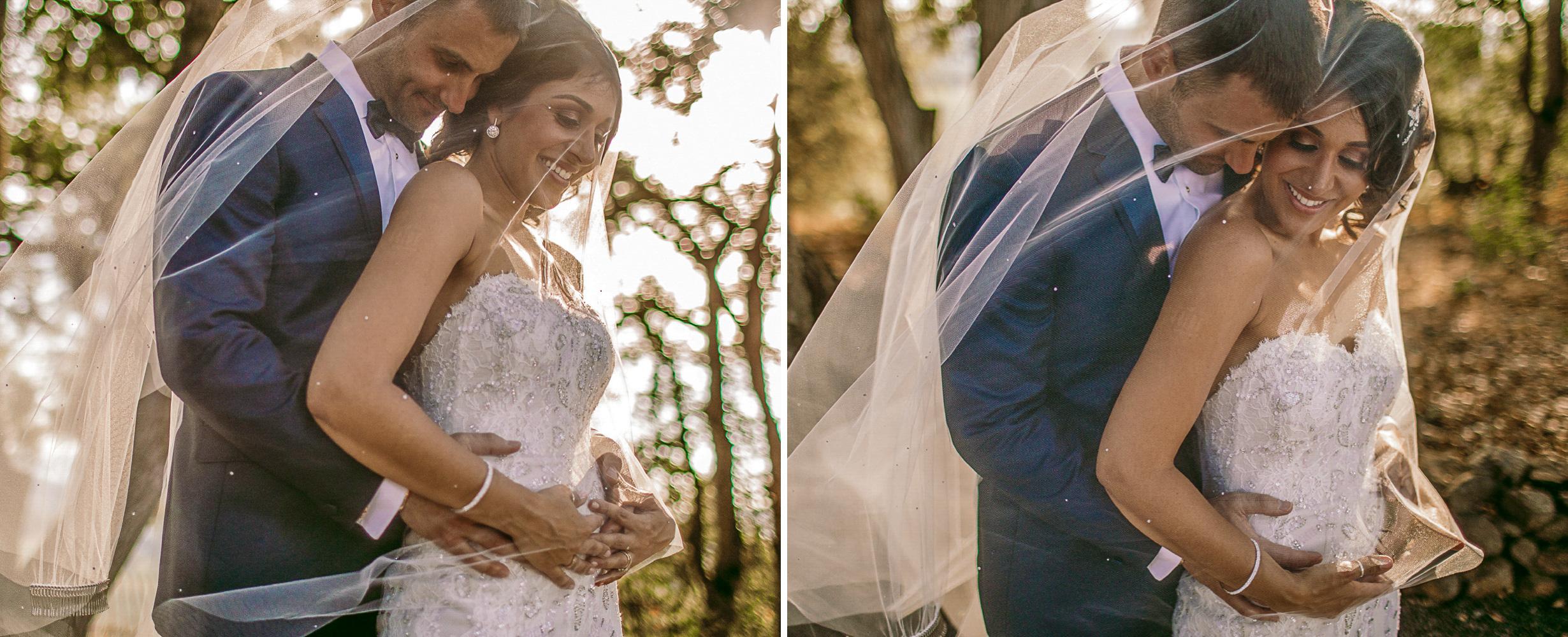 san diego wedding   photographer | groom holding bride from behind seen through veil