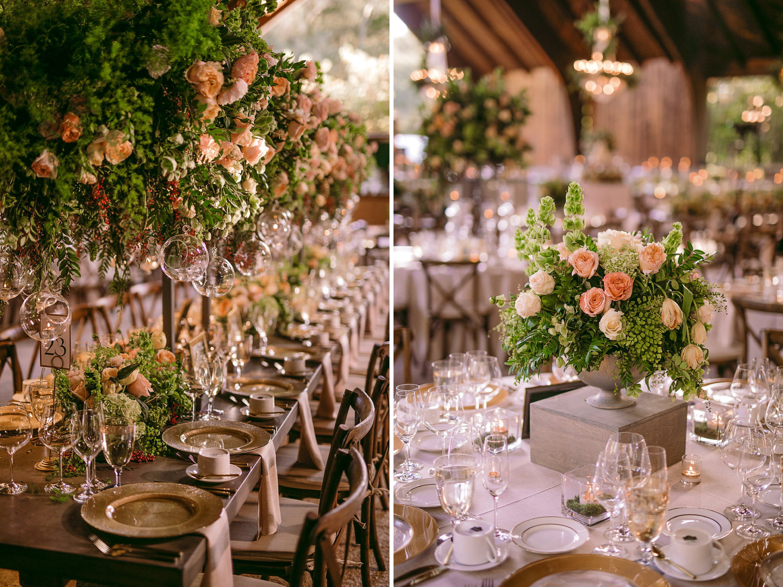 san diego wedding   photographer | collage of table arrangement with glasses and flower   arrangement