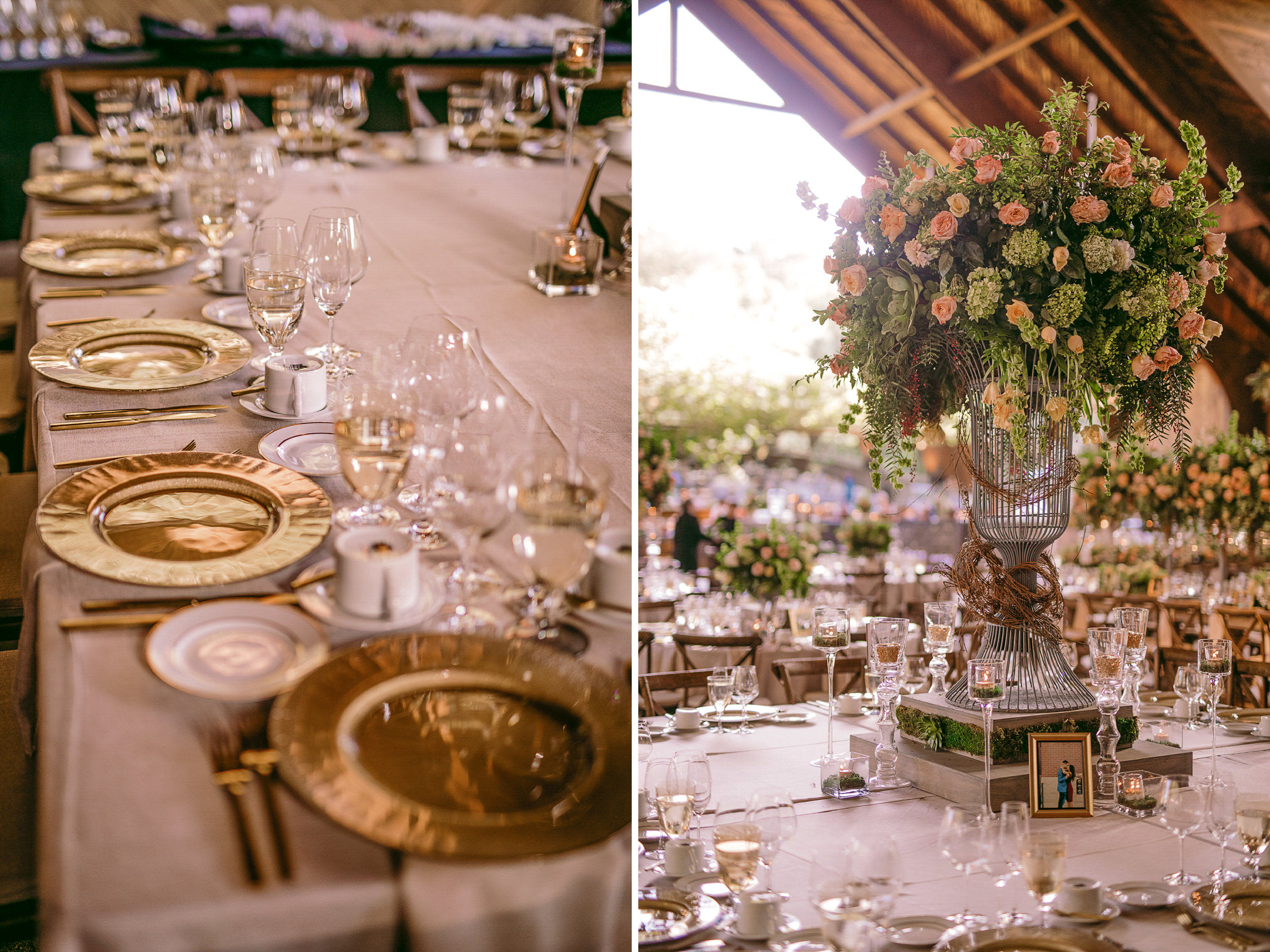san diego wedding   photographer | collage of table set-up and flower arrangements in covered   structure