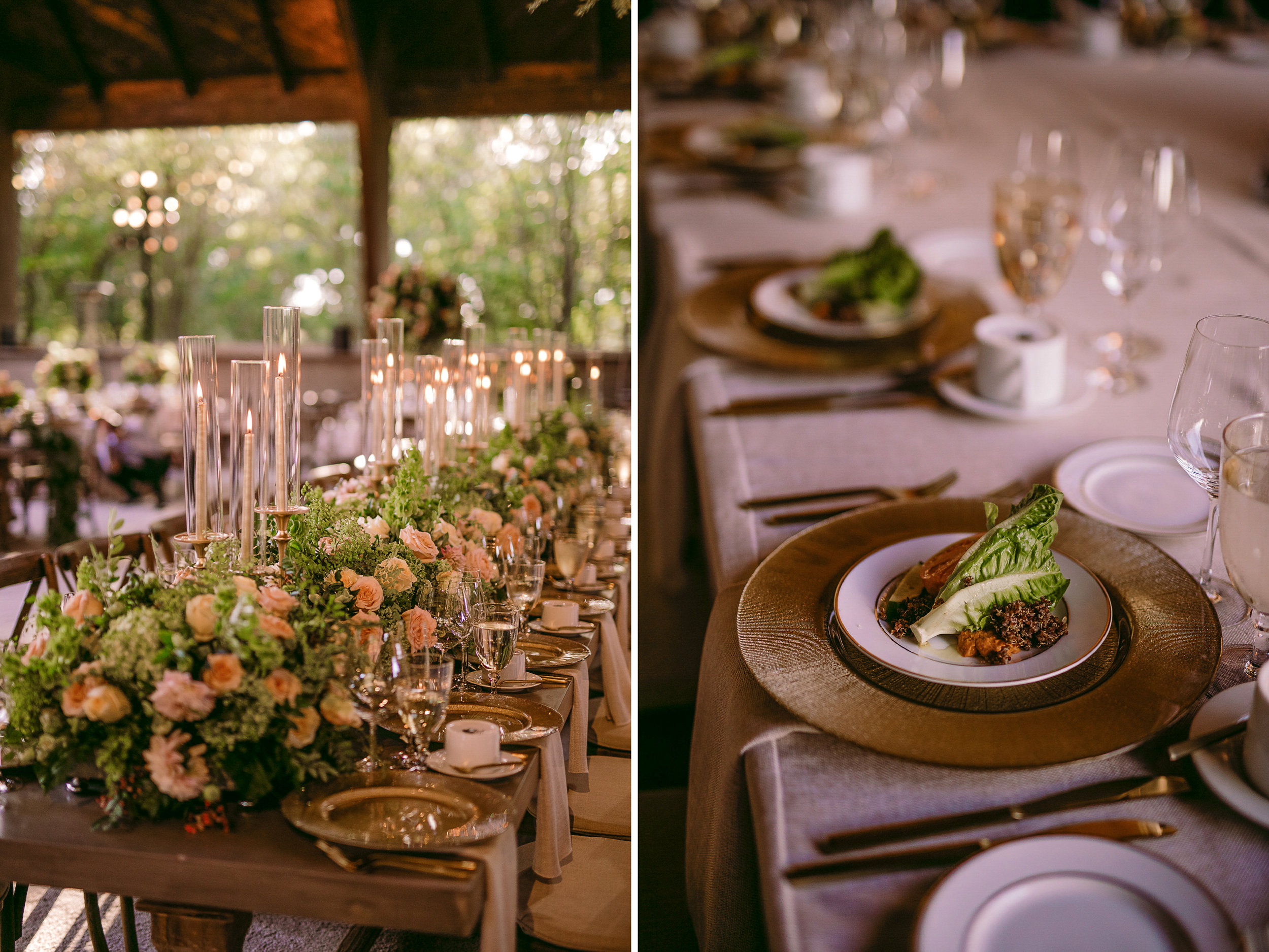 san diego wedding   photographer | collage of table arrangement with flowers and a serving of   food