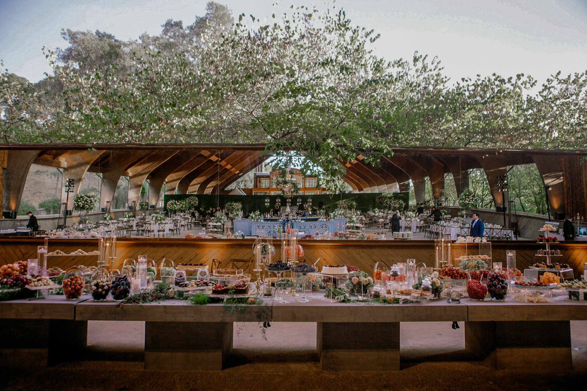 san diego wedding   photographer | view of outdoor table set-up in front of big mirror