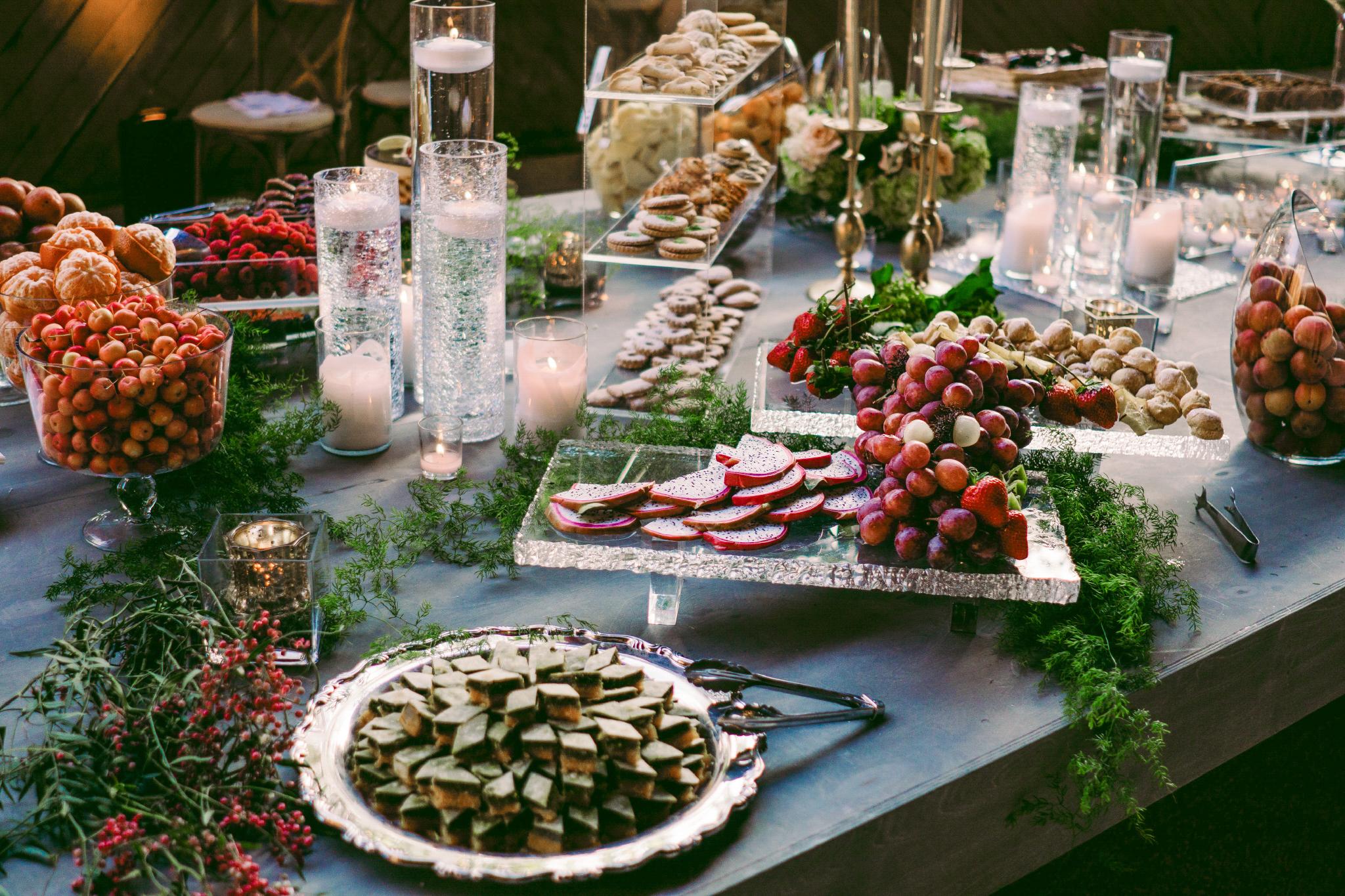 san diego wedding   photographer | table arrangement of various fruits set up