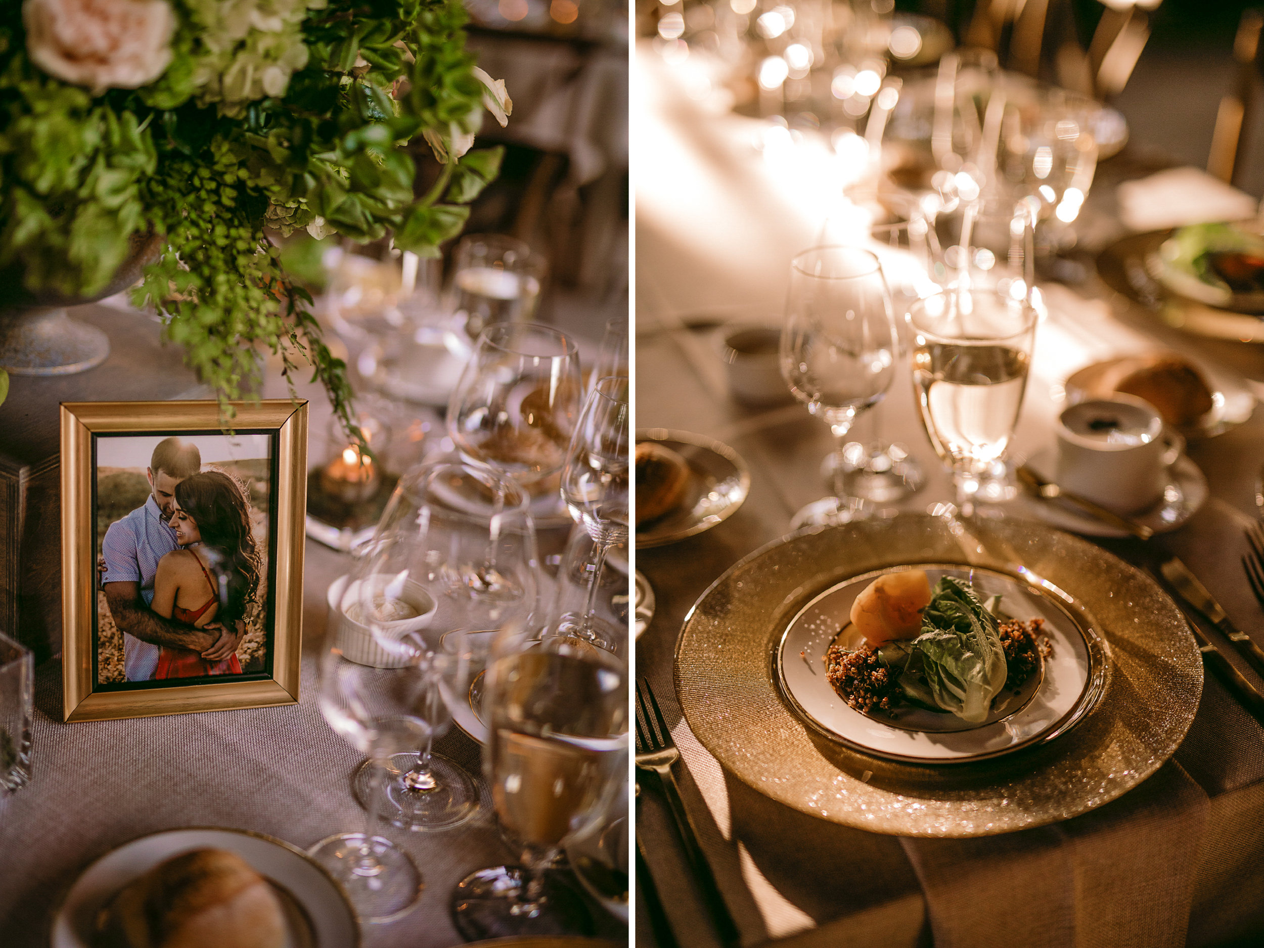 san diego wedding   photographer | collage of table set-up with picture of married couple on   table