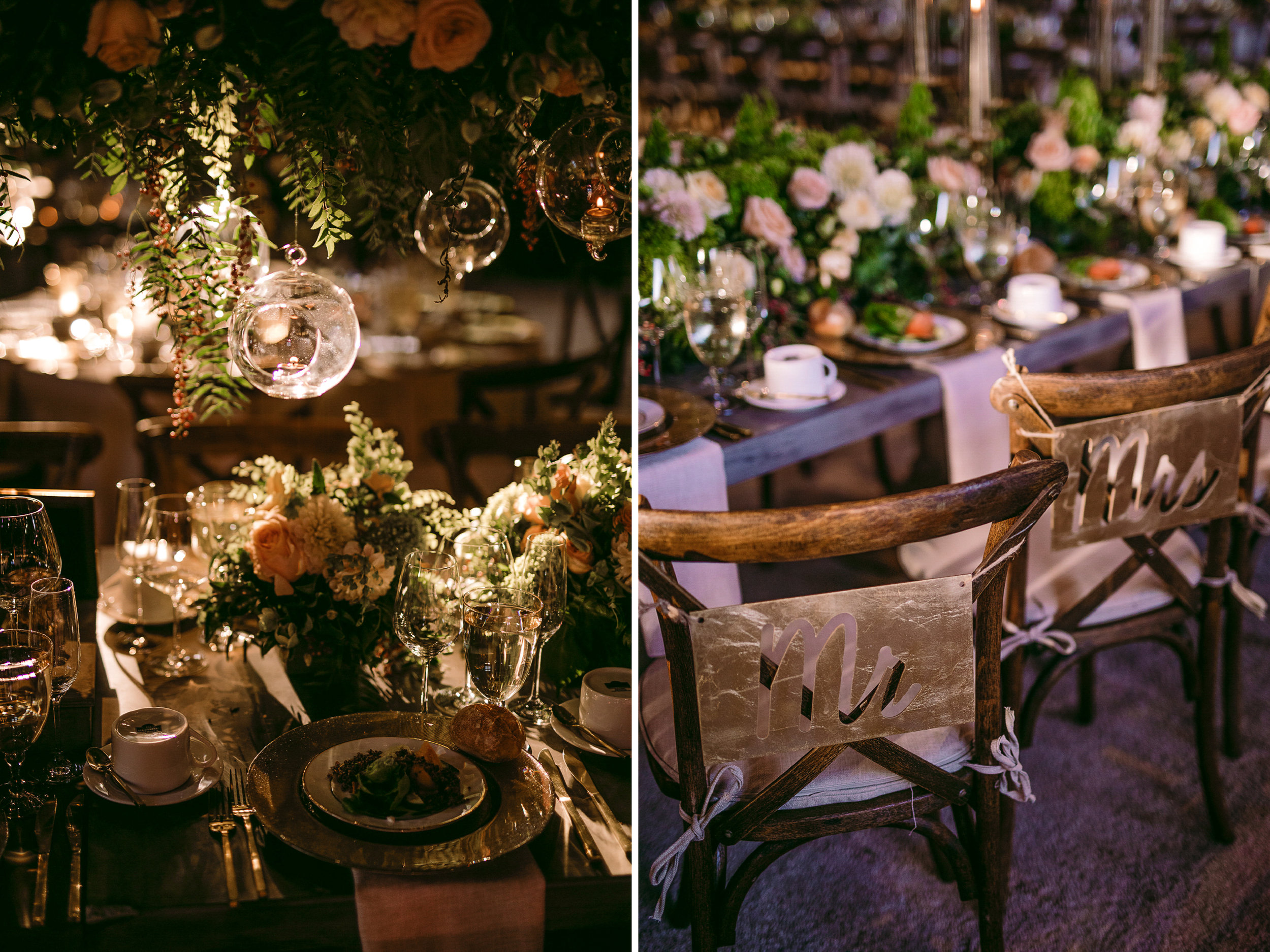 san diego wedding   photographer | collage of beautiful table arrangement with view of chairs for   married couple