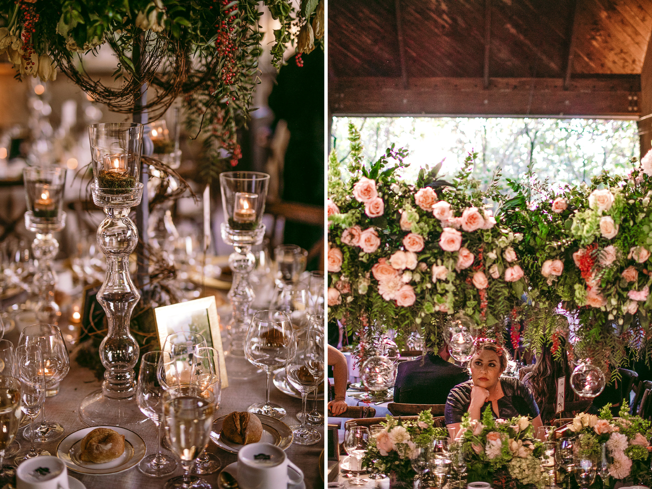 san diego wedding   photographer | collage of table arrangment with candles and woman seated in   table