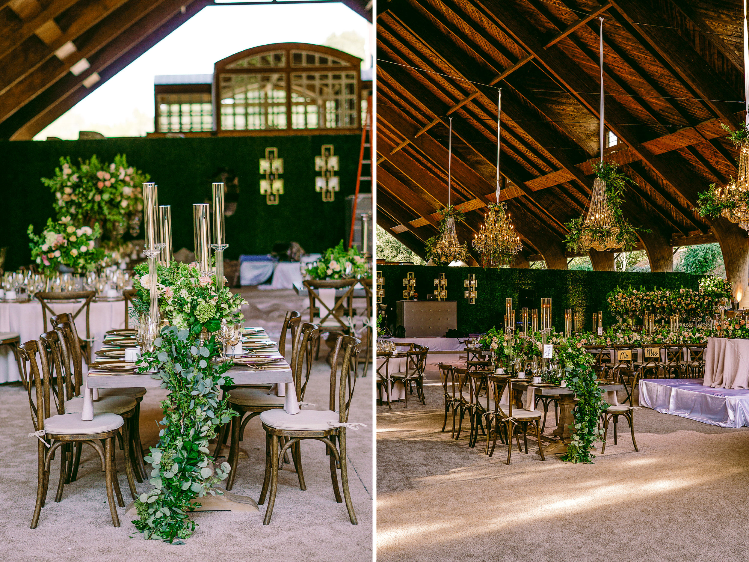san diego wedding   photographer | collage of dining area set-up with green wall divider in   background