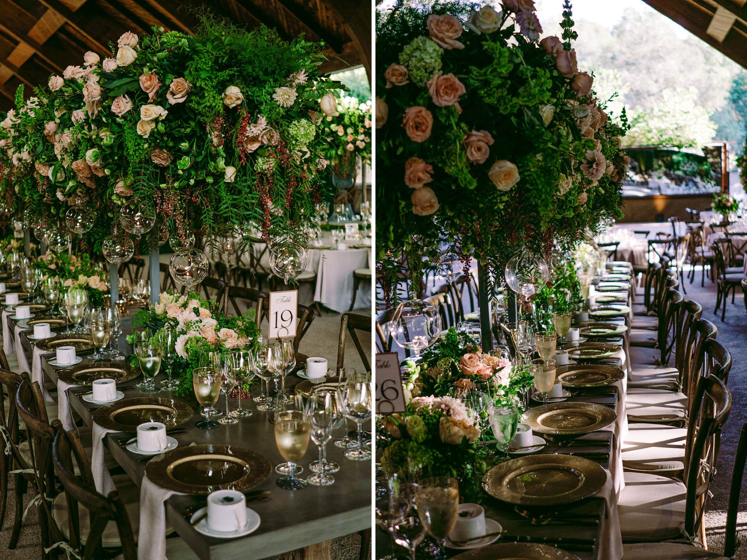 san diego wedding   photographer | view of tables labeled 19 and 26 decorated with flower   arrangements