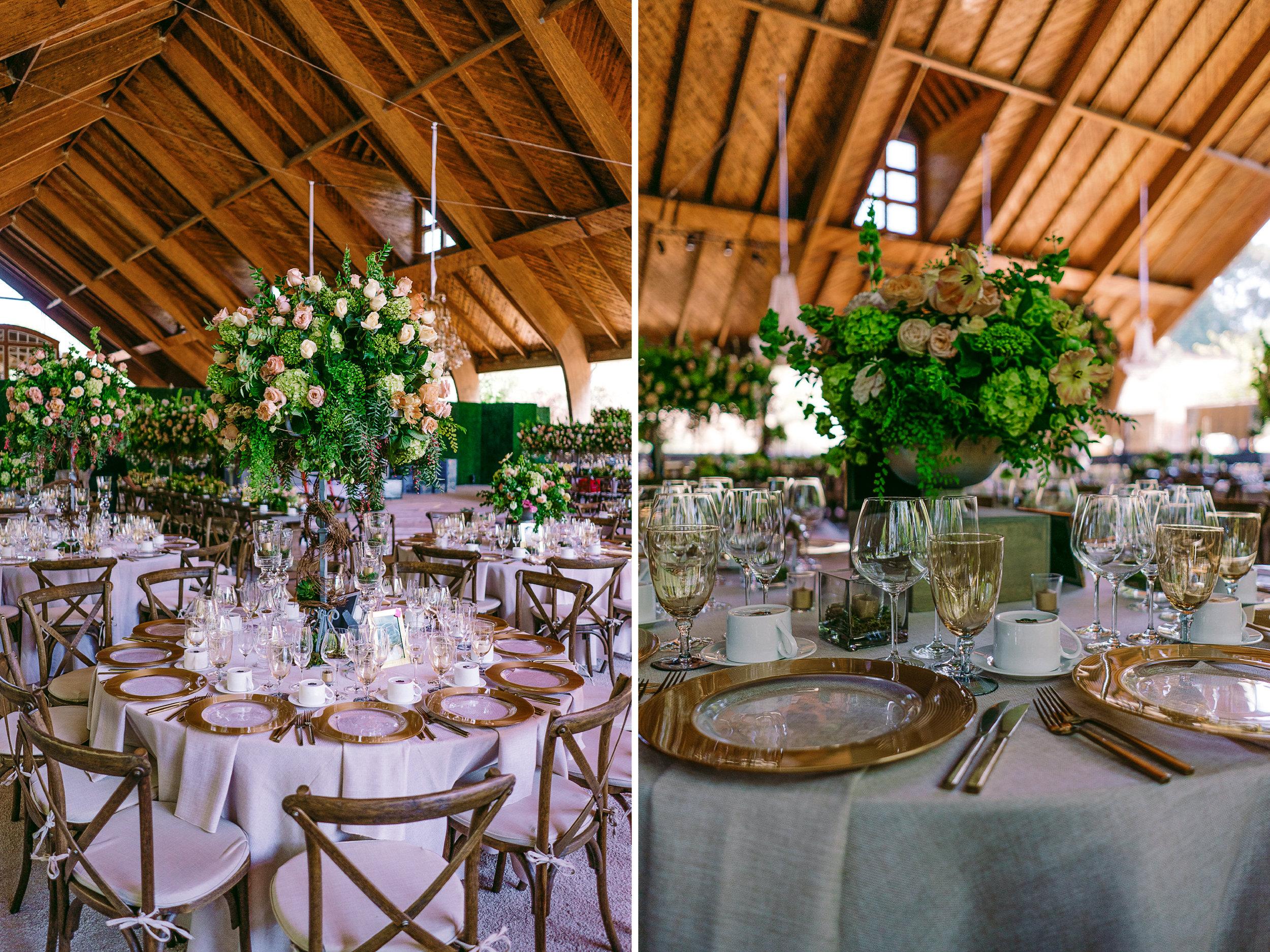 san diego wedding   photographer | collage of roundtable with flower arrangement centerpiece