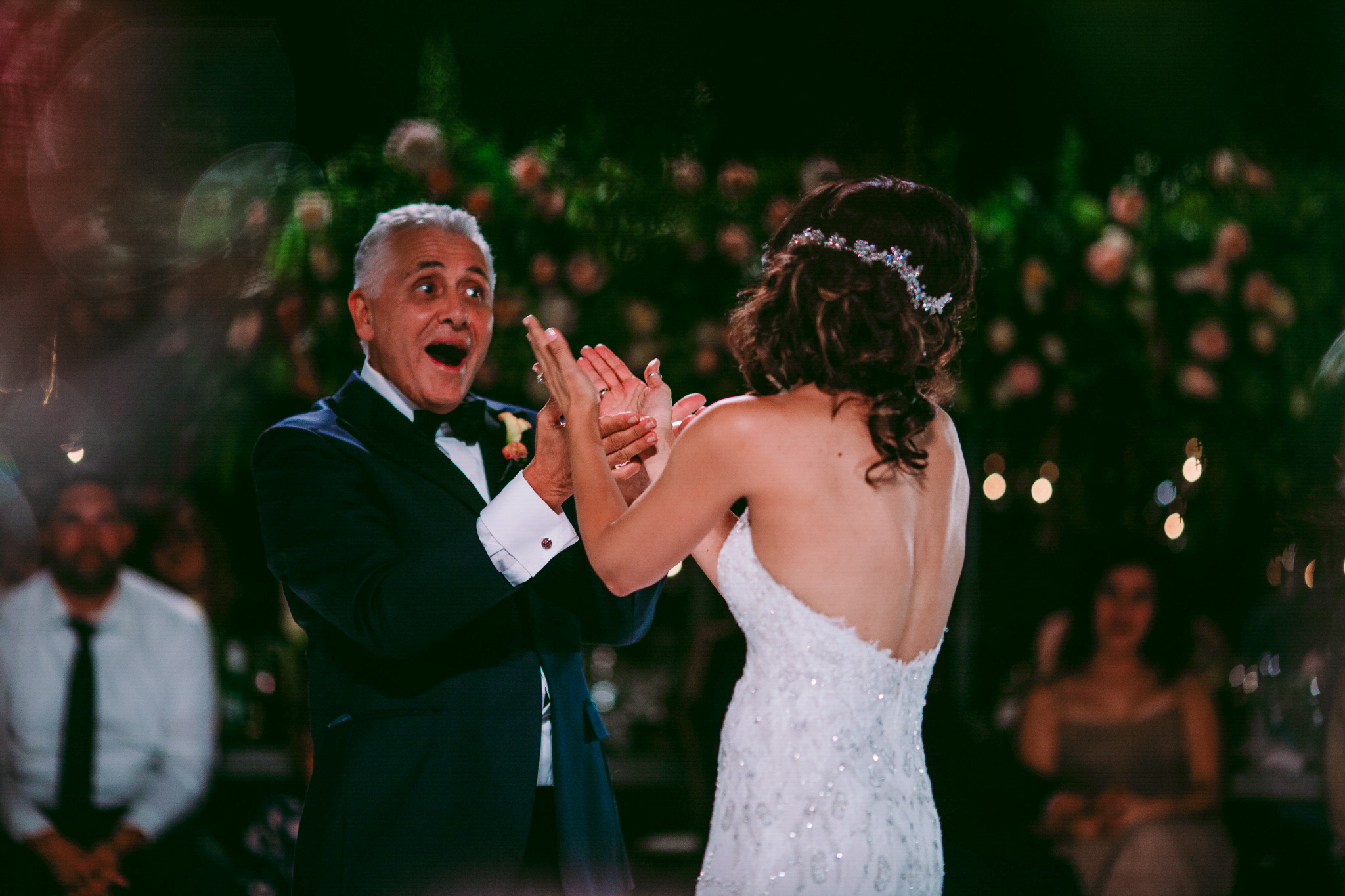 san diego wedding   photographer | bride and old man dancing while old man's mouth is open