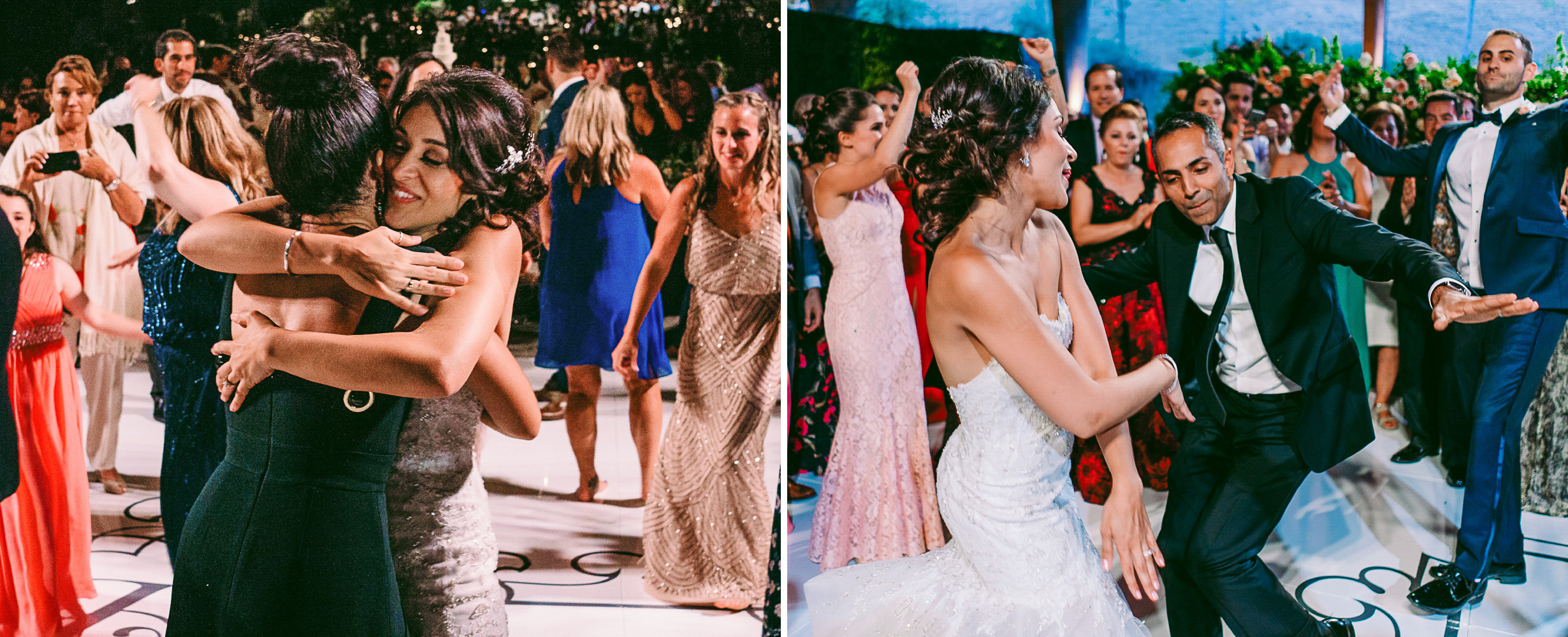 san diego wedding   photographer | collage of bride hugging woman in deep green dress and man in   suit