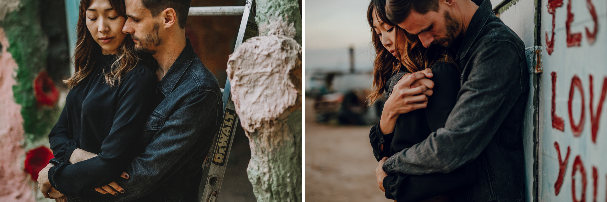 san diego wedding   photographer | man holding woman while leaning on ladder