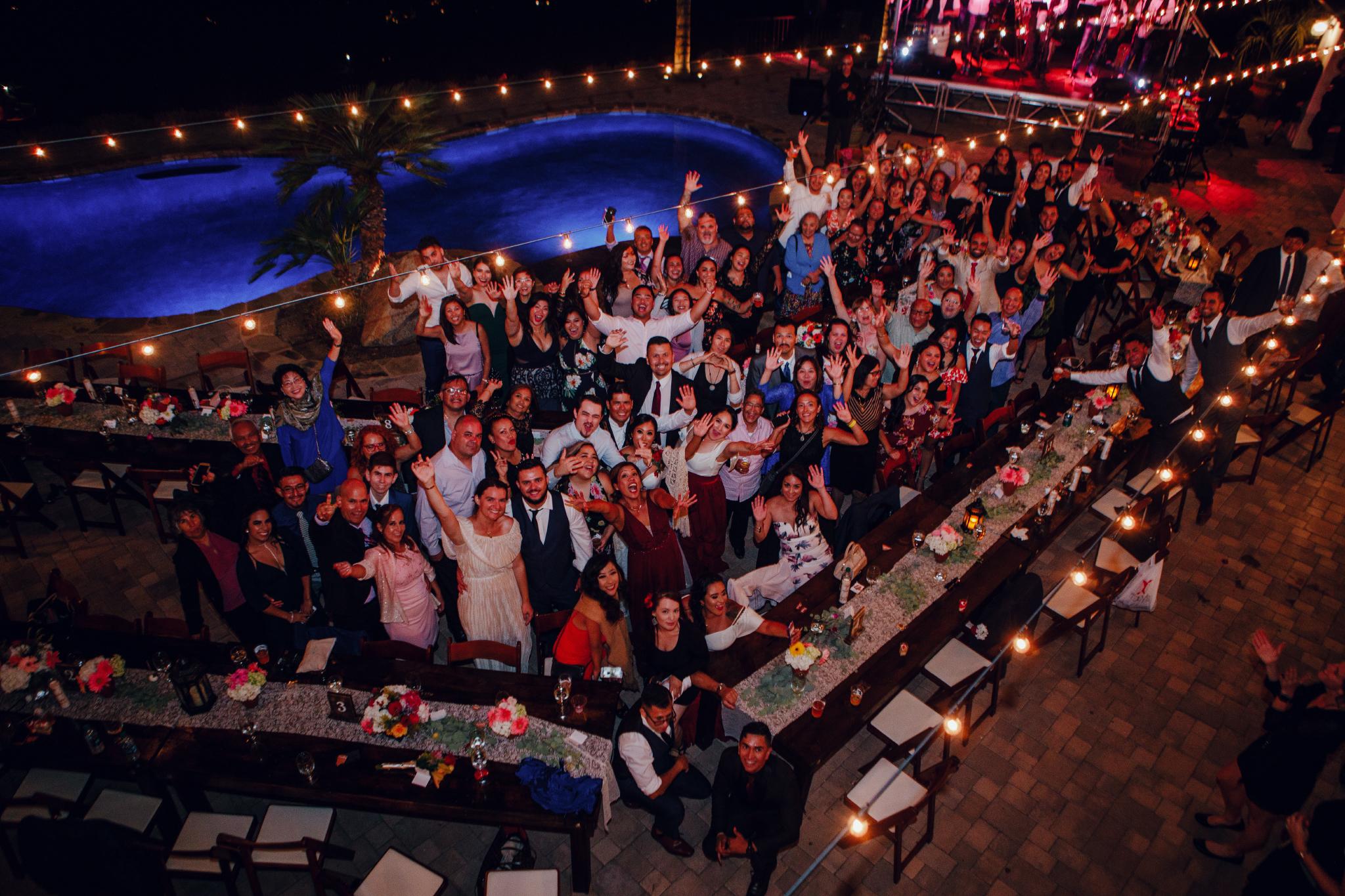 San Diego Wedding Photographer | big group shot at the wedding reception in Montana Cielo