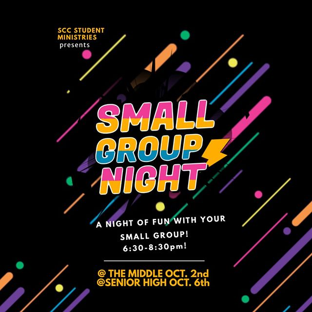 GET EXCITED!  It's gonna be a SUPER fun night!  #sccstudents #smallgroups