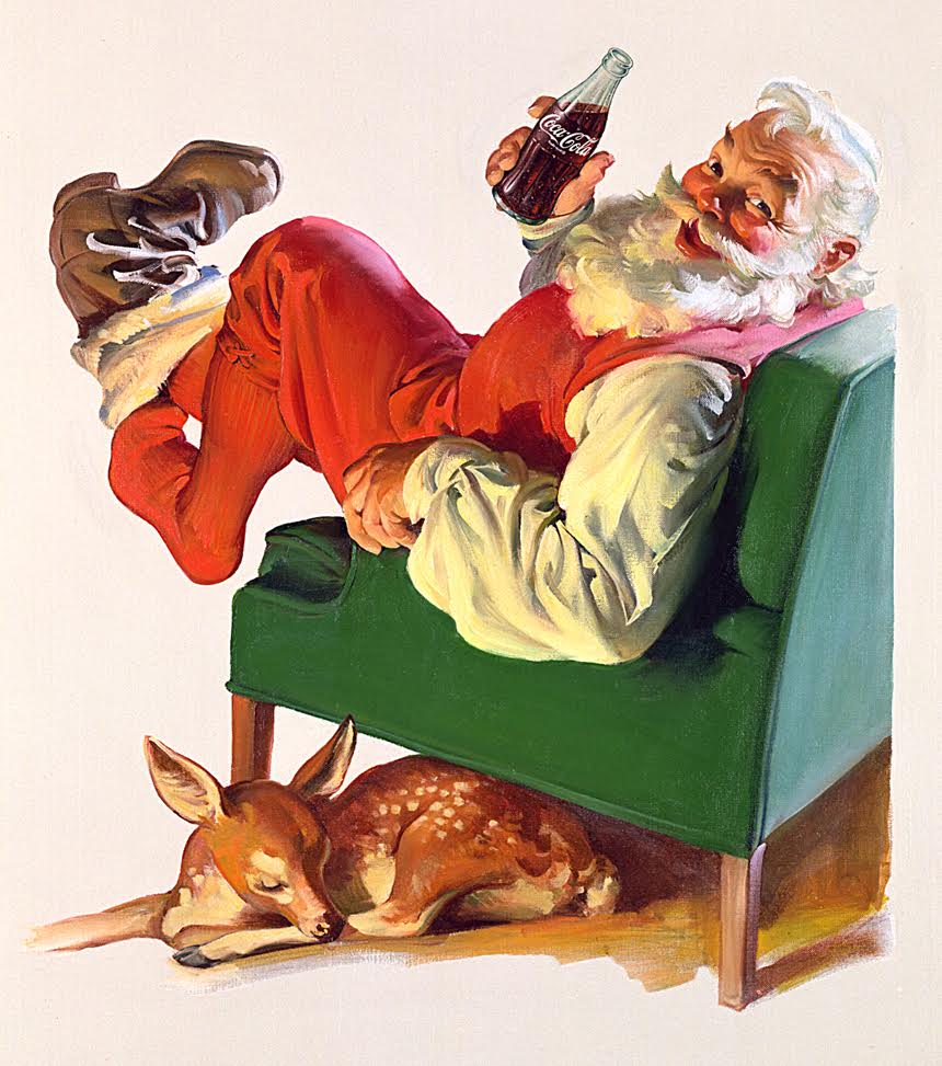 See more photos and background on the illustrator Haddon Sundblom here:  http://www.coca-colacompany.com/stories/coke-lore-santa-claus