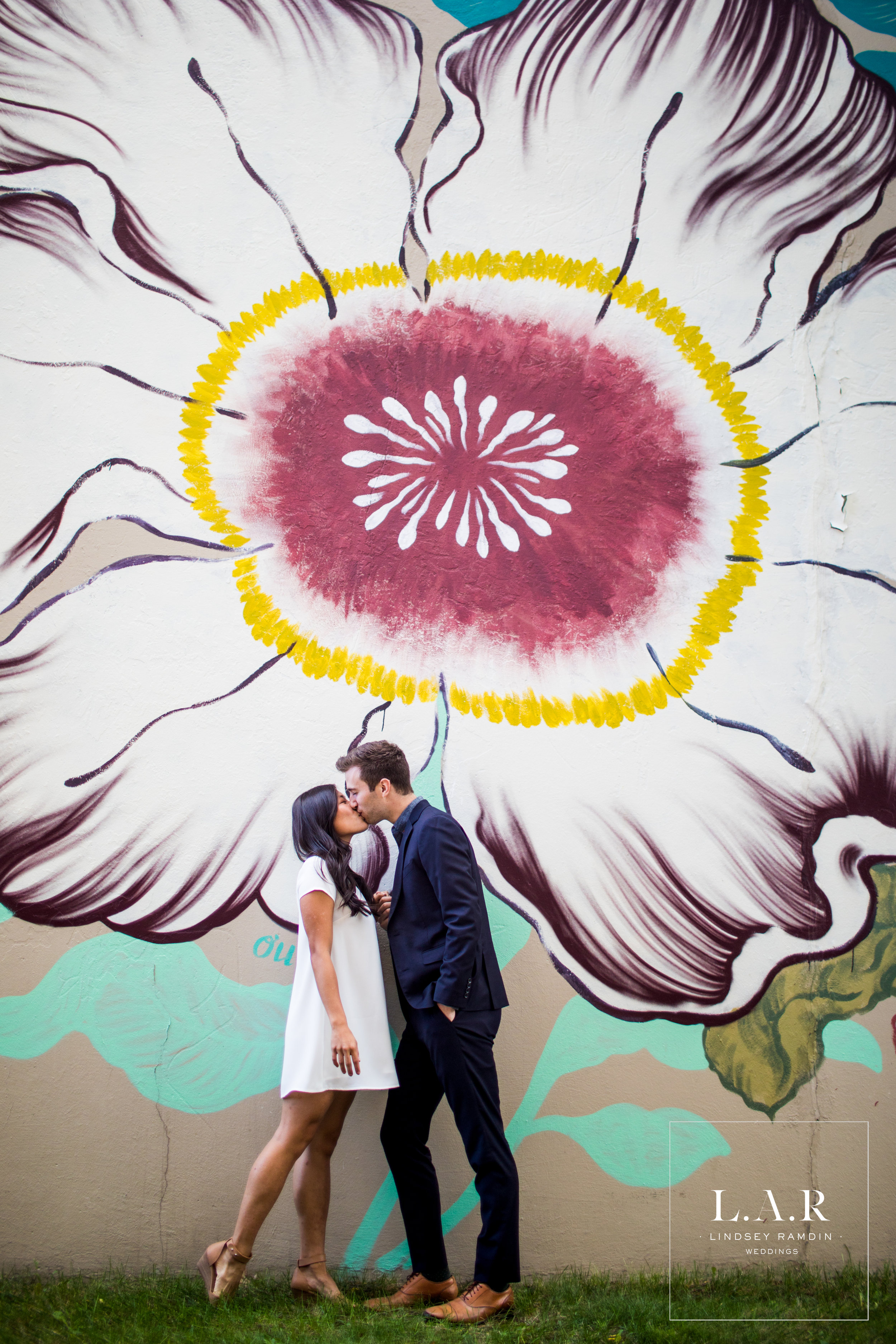 Detroit Engagement Photo | Agnes Street Mural | L.A.R. Weddings