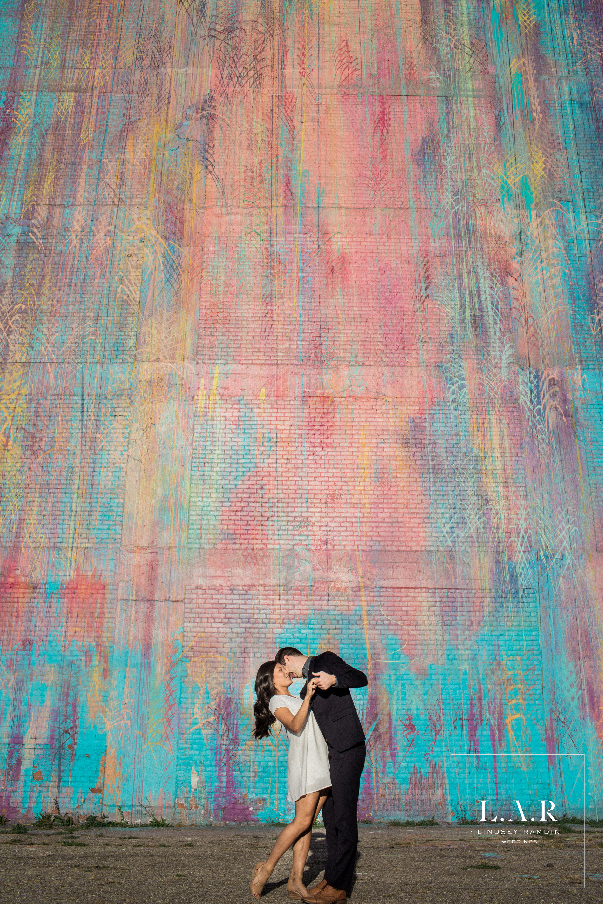 Detroit Engagement Photo | Illuminated Mural | L.A.R. Weddings