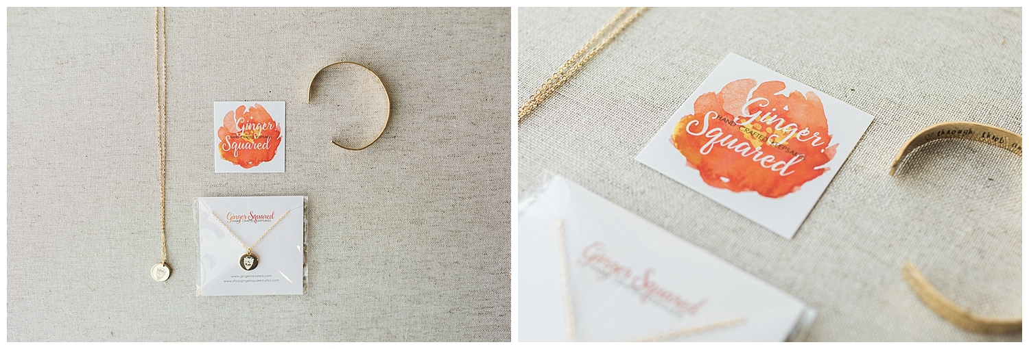 Janine's friend made the prettiest jewelery for the bridal party. Go check out Ginger Squared!