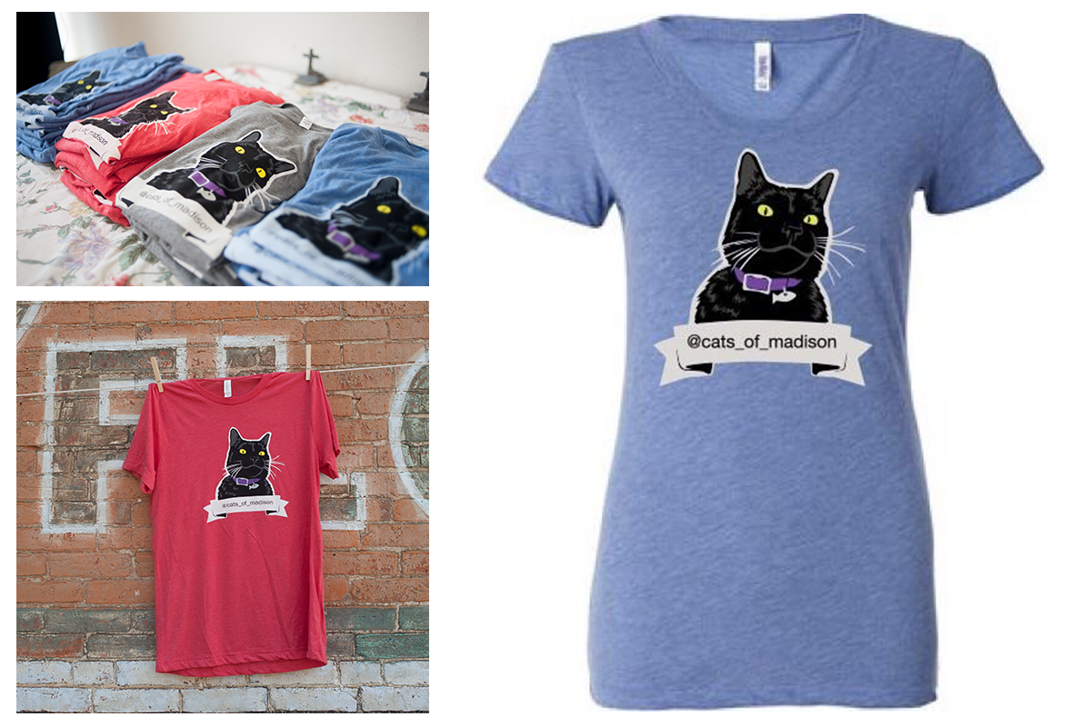 Designed tshirts for Instagram community  @cats_of_madison  to benefit  Sheltering Animals of Abuse Victims (SAAV) . Printed by  Screen Door Studio  in Madison, Wisconsin.