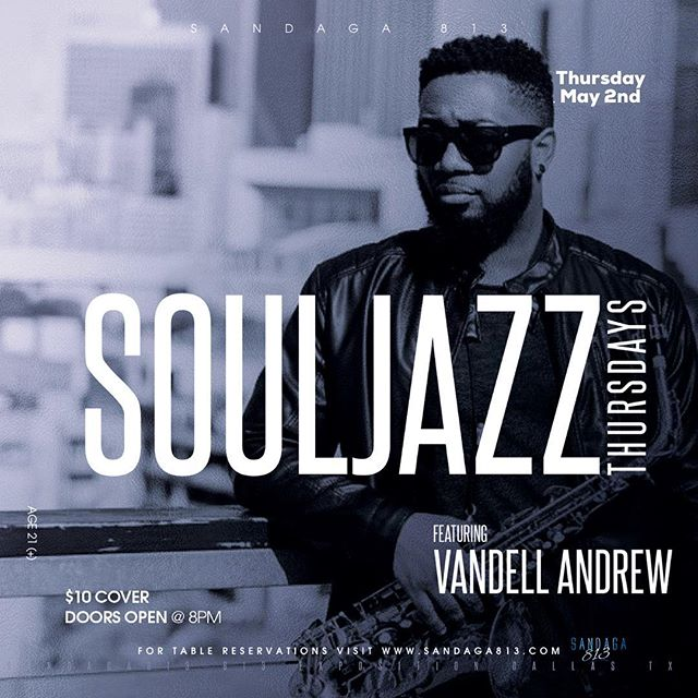 May 2nd. Get some! 🎷 . . . .  #vandellandrew #sandaga813 #saxophonist #souljazz #smoothjazz #concert #livemusic