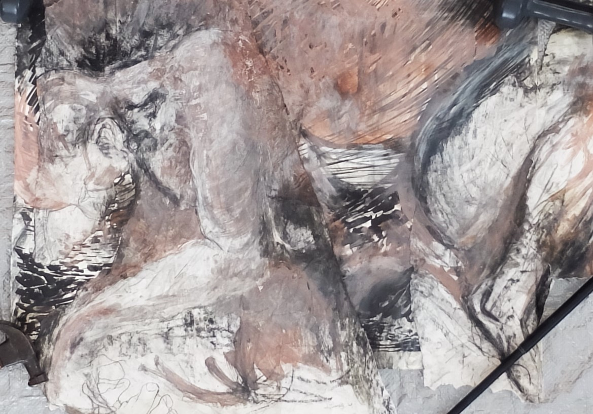 """study/composite, 25.5""""x34"""", charcoal, ink, gesso, clay/slip, oil"""