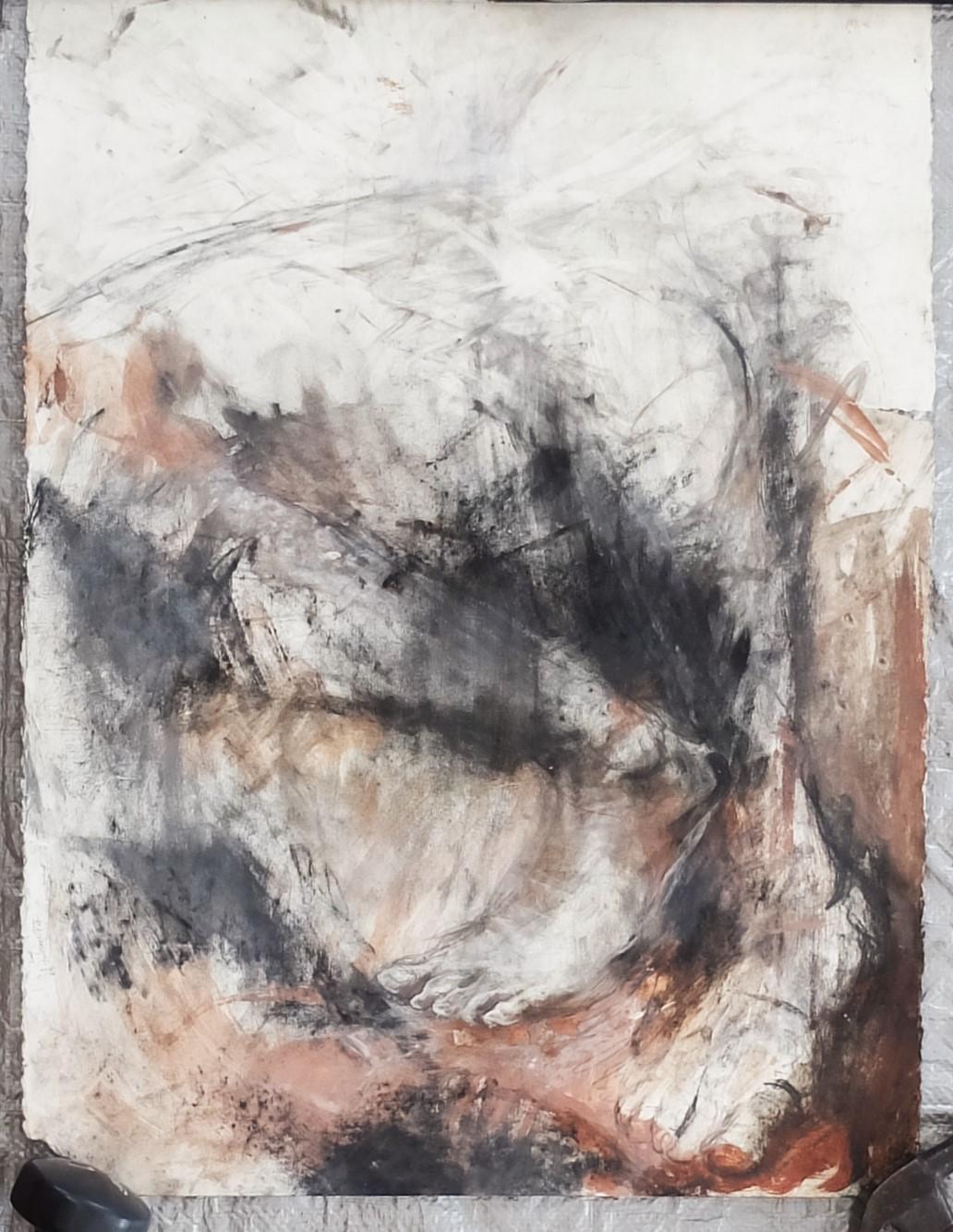 "study,  22""x29.5"" charcoal, clay/slip"