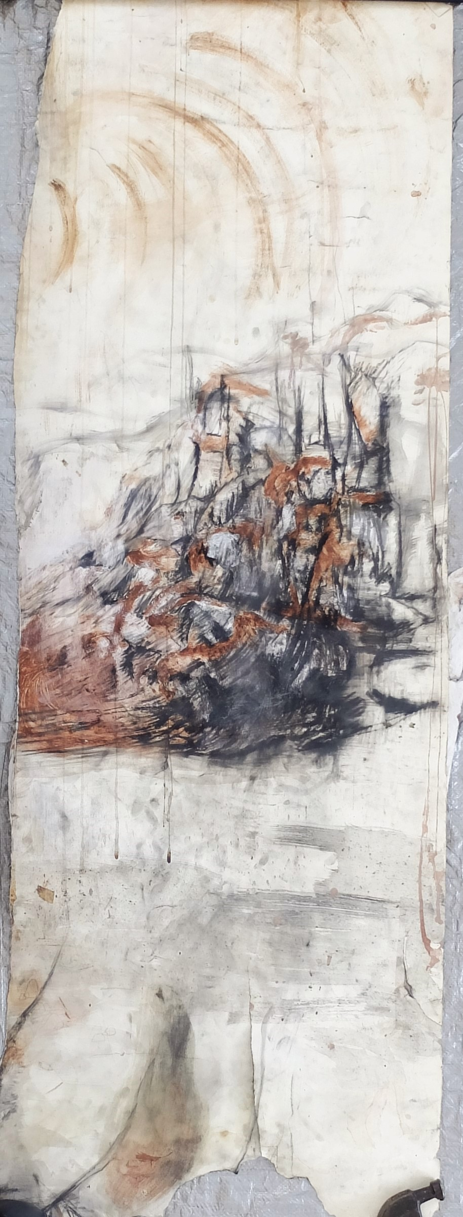 """25""""x72"""", charcoal, gesso, oil(olive), clay/slip, chalk"""