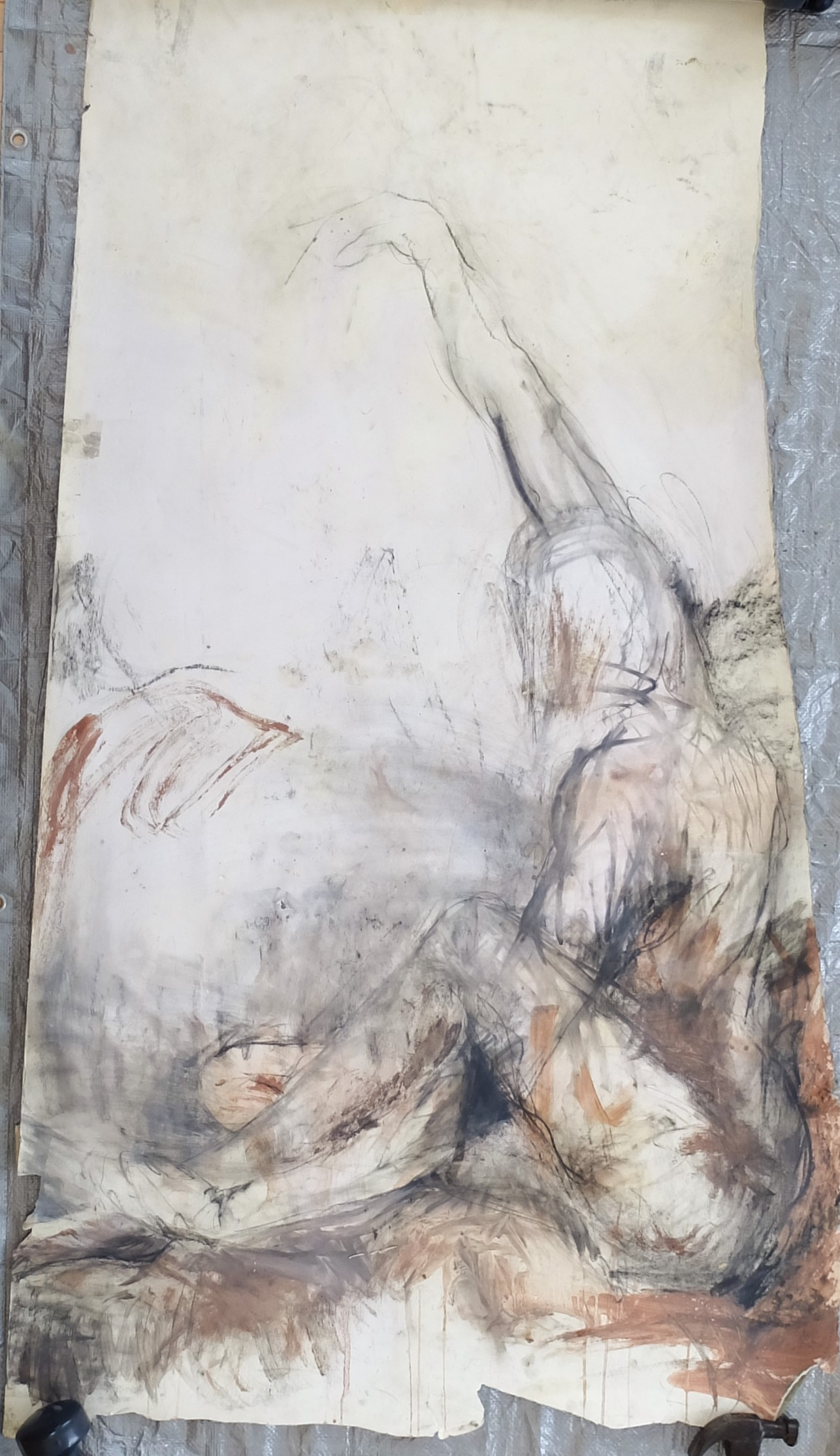 """31""""x66"""", charcoal, clay/slip, chalk on paper"""