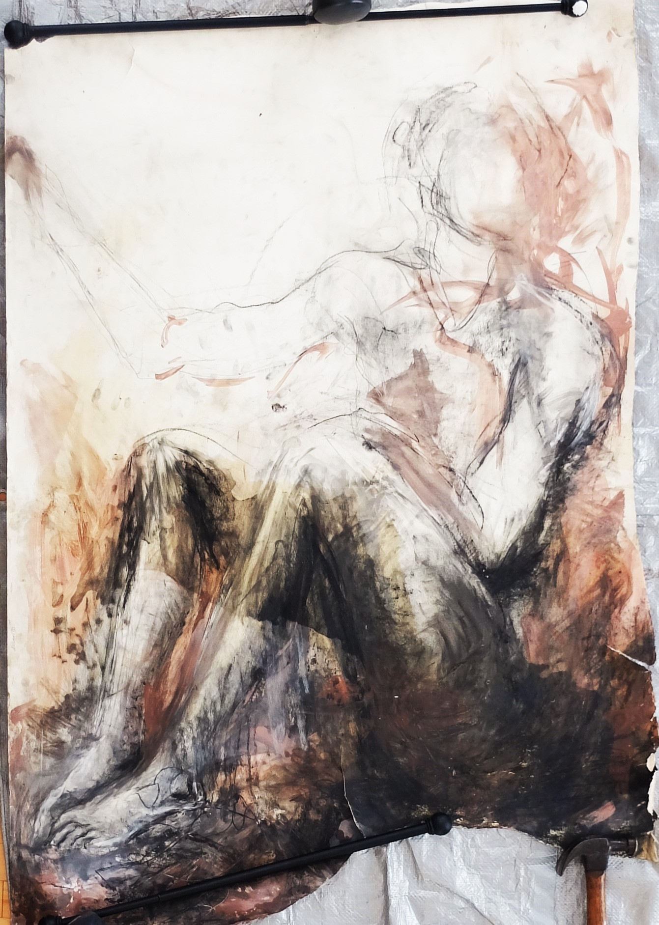 """38""""x55"""", charcoal, clay/slip, chalk, and oil(olive) on paper"""