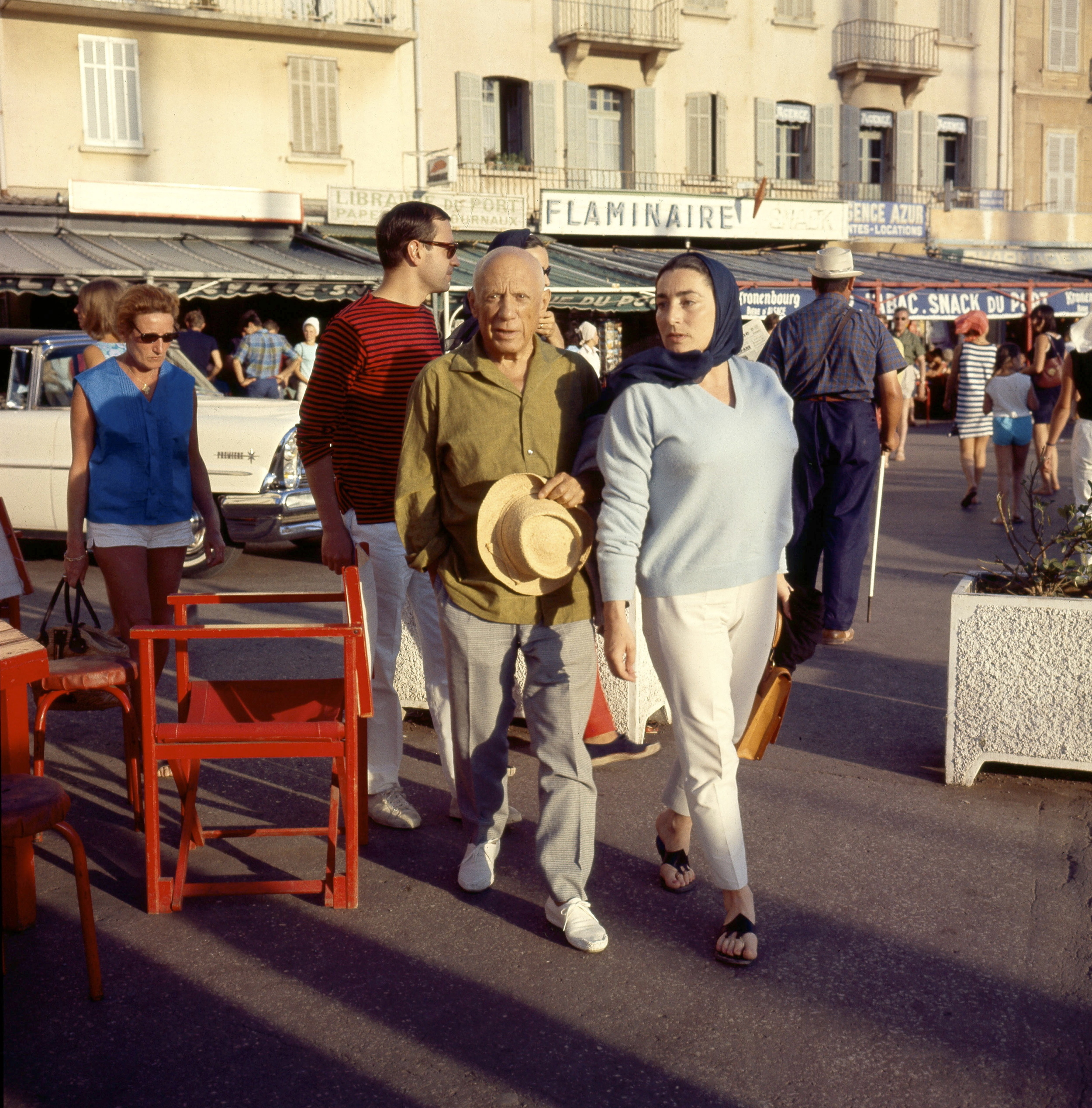 Pablo Picasso and  friend in St Tropez