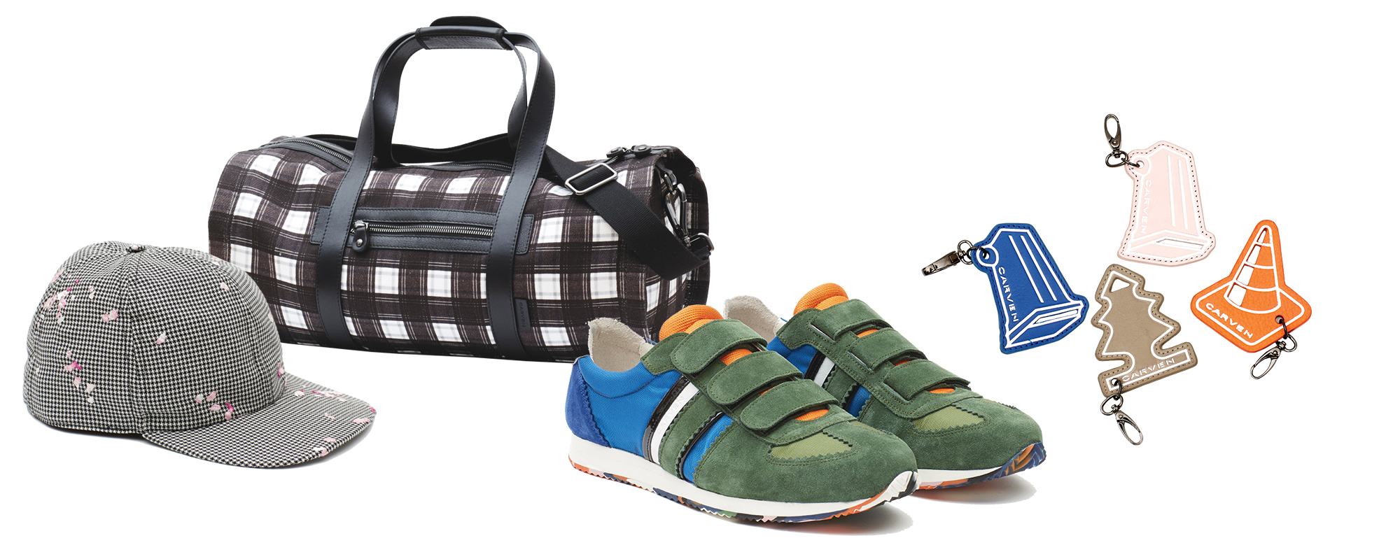 From Left: Spring/Summer 2015 Accessories by Carven-  Cap; Duffel bag; Sneakers; Luggage hang tags