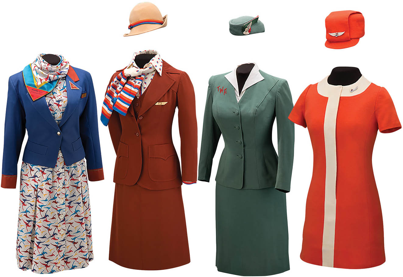 From left to right:Qantas uniform by Yves Saint Laurent, 1986;United Airlines uniform by Stan Herman, 1976;Trans World Airlines uniform by Oleg Cassini, 1955;United Airlines uniform by Jean Louis, 1968