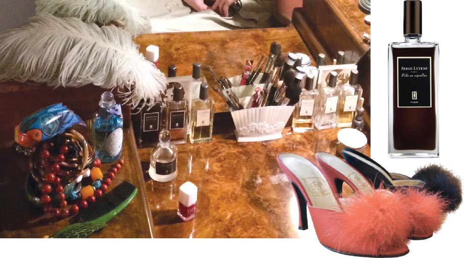 Her essential accessories, including Serge Lutens perfume