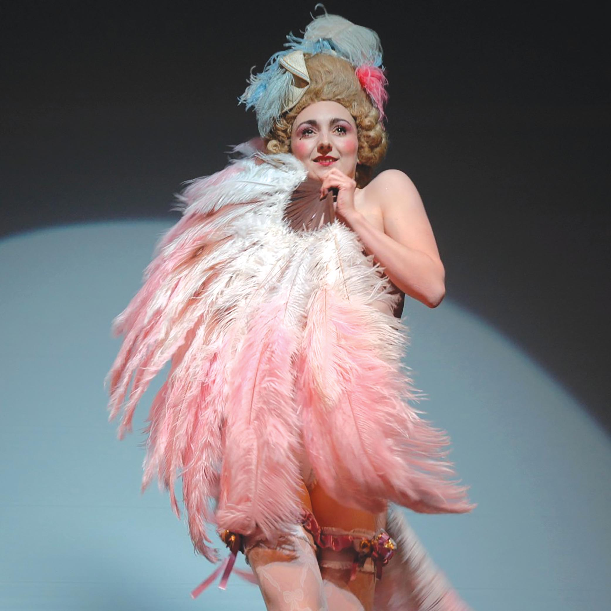 Flaunting her feathers as Marie Antoinette