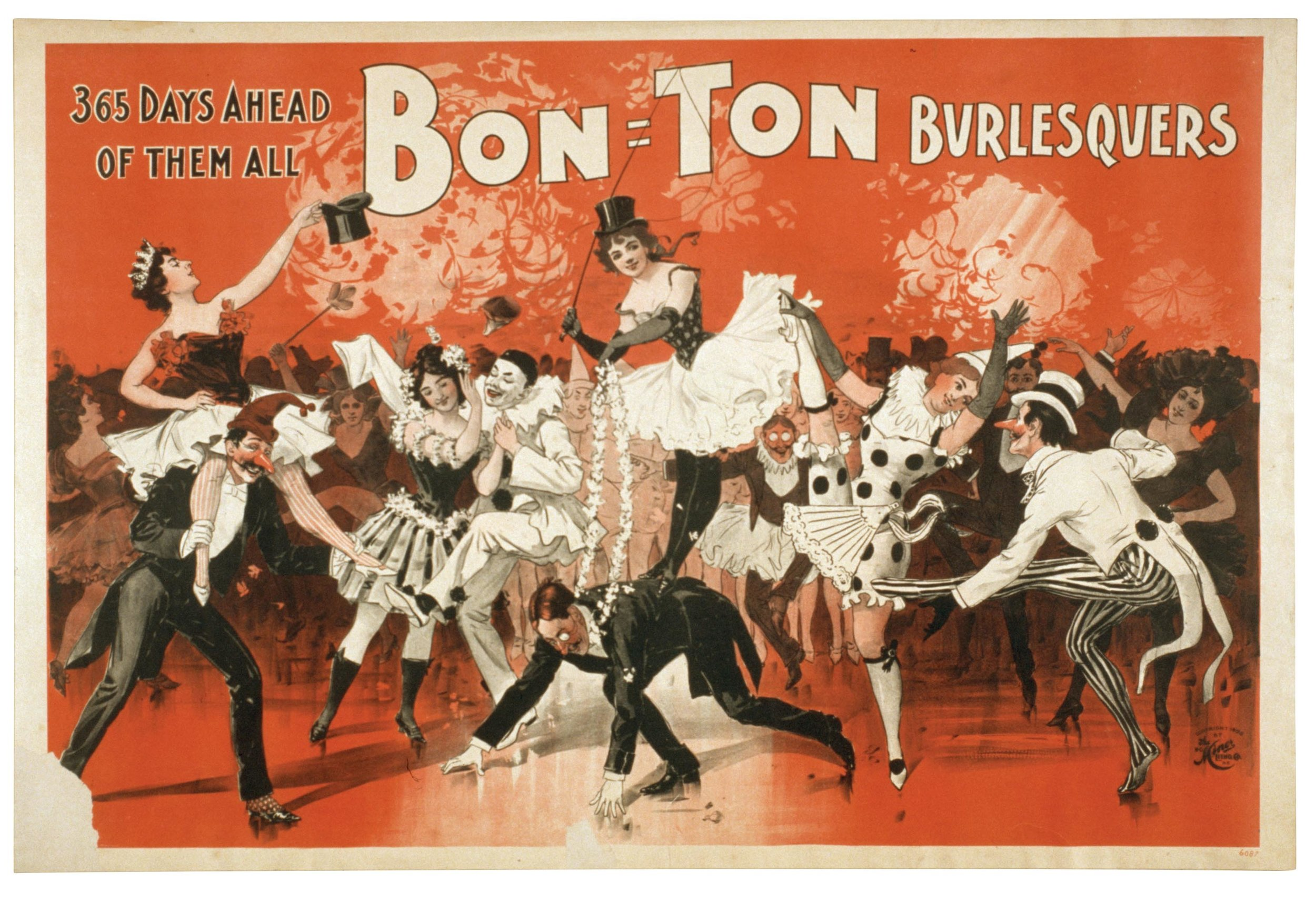 A lobby card from 1898 for a burlesque show in the US starring the Bon Ton Burlesquers