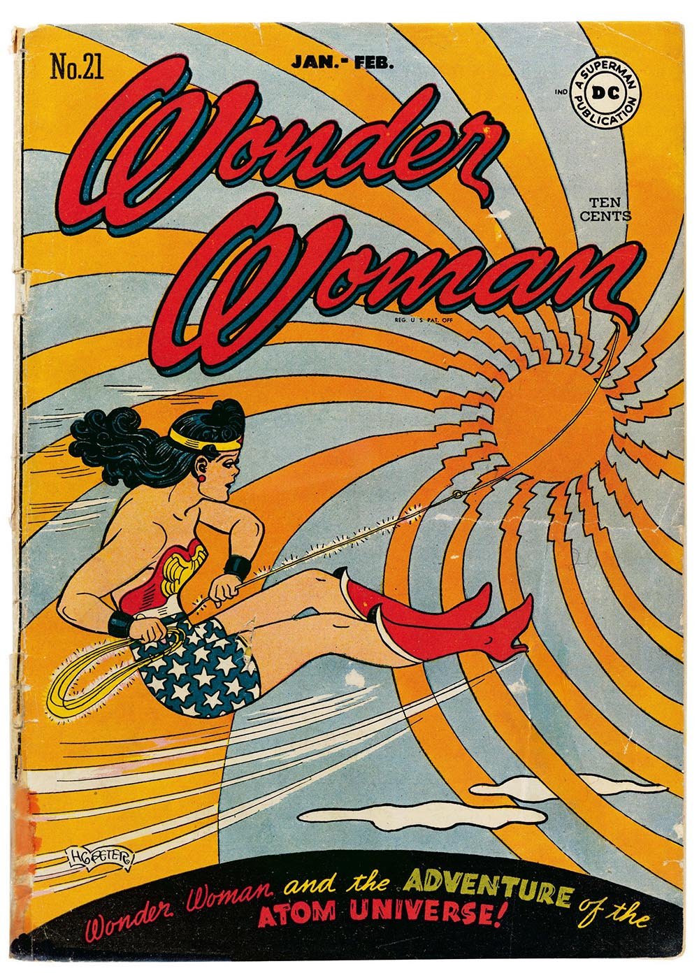 Wonder Woman No. 21 cover art by HG Peter,  January–February 1947