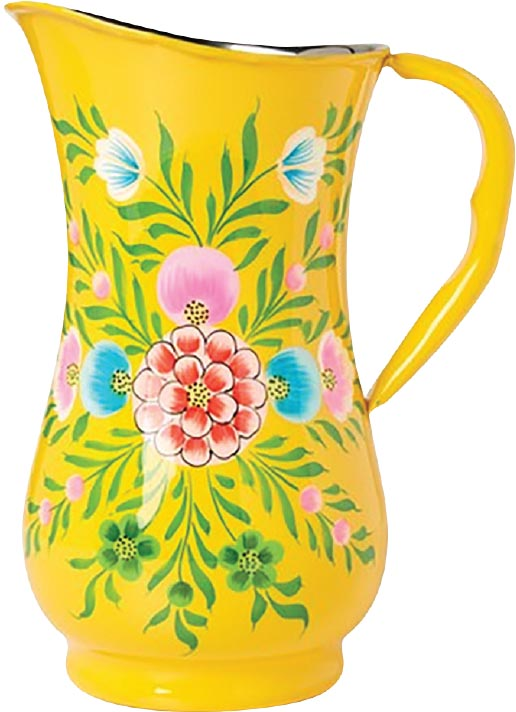Millefiori Jug, Karma Living - Pour juice or ice water from this pretty jug – it makes your fruit-based cocktails taste that much sweeter. Don't believe it? Try making a piña colada, blue Hawaiian or mai tai.
