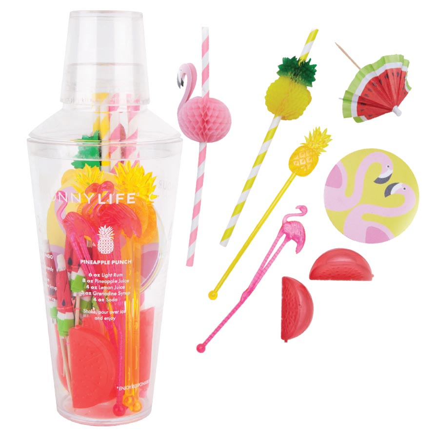 Tropical Cocktail Kit, Sunnylife - Bring this colourful cocktail kit to your beach party and you'll have everything you need to make some festive cocktails for six people: a shaker, six coasters, six watermelon-shaped ice cubes, six umbrellas, six straws, six stirrers and three drink recipes.