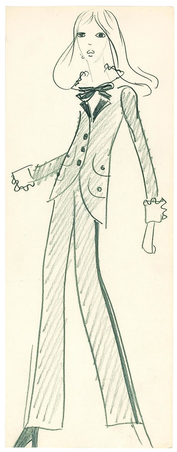 An original Yves Saint Laurent drawing for the famed Le Smoking tuxedo suit (autumn/winter 1966)