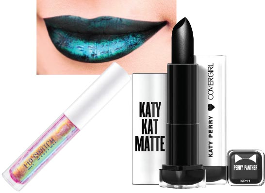 Left: Pink Lotus holographic <br>lip gloss, Lip Switch; <br>right: Katy Kat Matte lipstick in<br> black, CoverGirl x Katy Perry