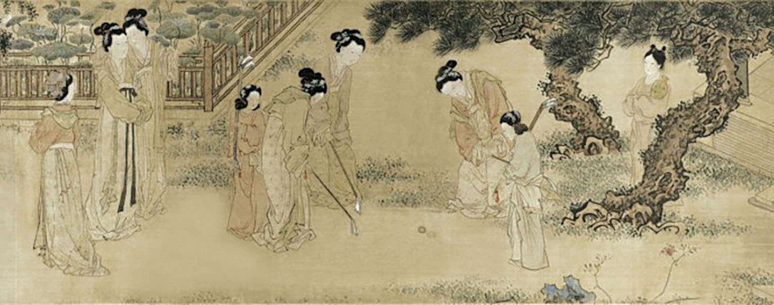 Ming Dynasty painter Du Jin  '  s painting portrays women playing chuiwan in court, collected by the Shanghai Museum