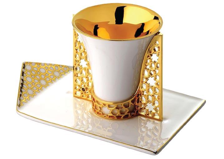 Arabesque gold-plated espresso cup holder and saucer, Merdinger.jpg