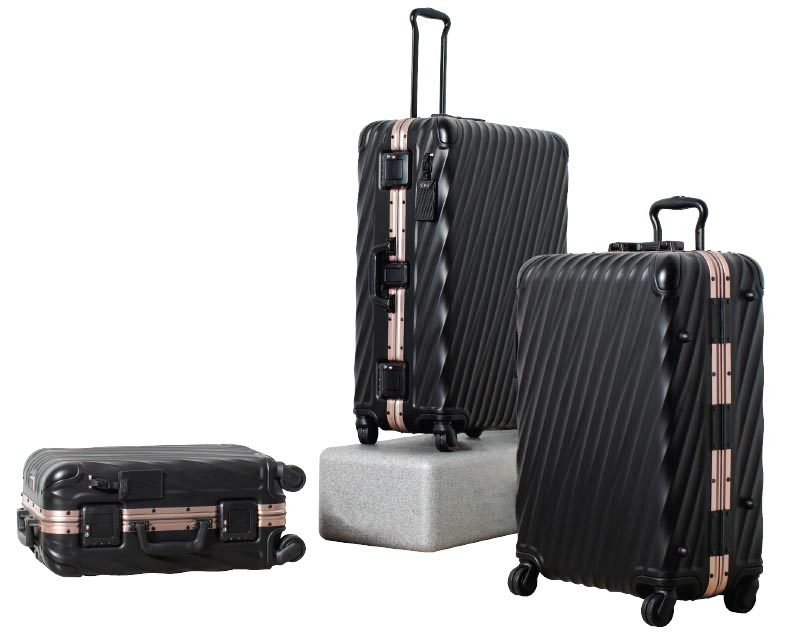 19 Degree collection in aluminium matte black with rose gold, Tumi.jpg