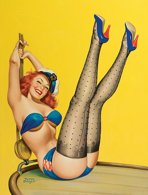 Pulp cover for  Flirt  magazine, April 1953, by American pin-up artist Peter Driben