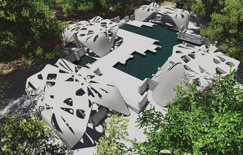 Upstate New York House  2,400 square feet, 2014–present, by D-Shape Enterprises and New York City architect Adam Kushner; the property includes a swimming pool, Jacuzzi and garage.