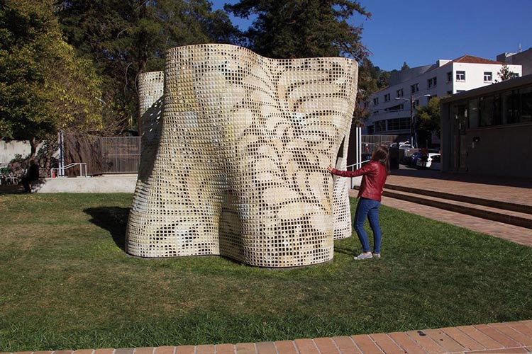 Bloom  on the University of California-Berkeley campus, 1,300 square feet, constructed by Ronald Rael and UC Berkeley's College of Environmental Design in 2015; this freestanding pavilion is composed of 840 customised blocks – the cracks allow light to seep into the structure.