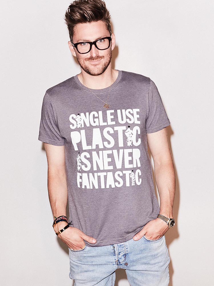"""Single-Use Plastic is <br>Never Fantastic"", <br>Brita x Henry Holland <br>#swapforgood campaign, <br>worn by Henry Holland"