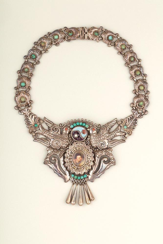 Necklace of silver, enamel, turquoise and coral with hinged compartment, made by Matilde Poulat, Mexico City, c.1950, from the Museo Frida Kahlo