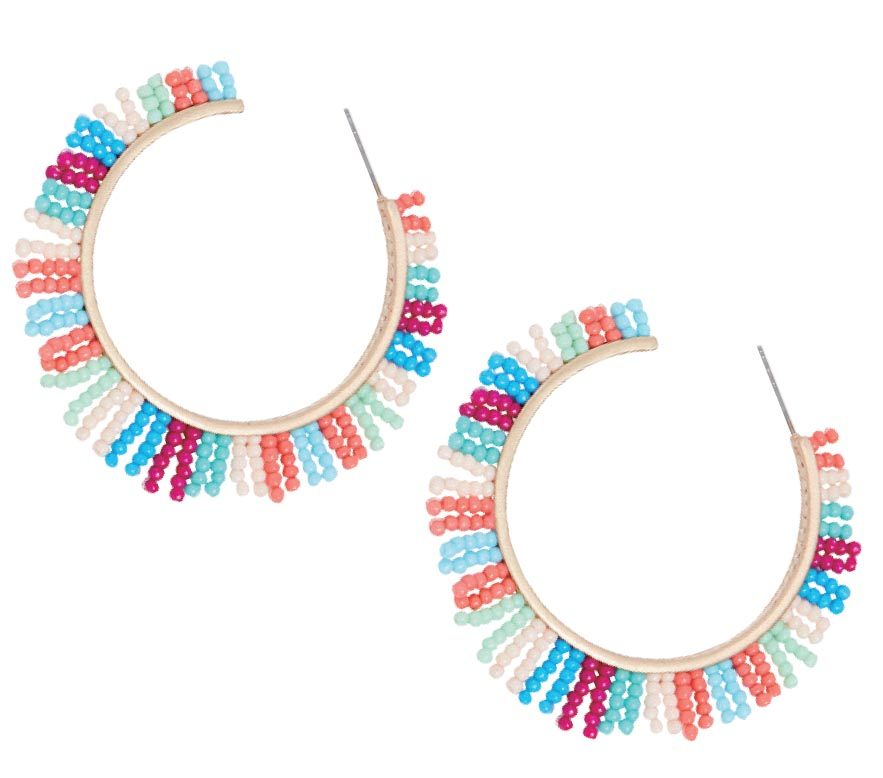 Beaded Spikey Fringe hoop earrings, Rebecca Minkoff