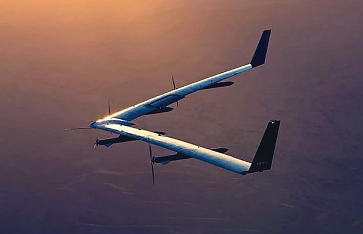A test flight for the Aquila, a solar-powered<br> drone with the wingspan of a Boeing 747, <br>developed by Facebook
