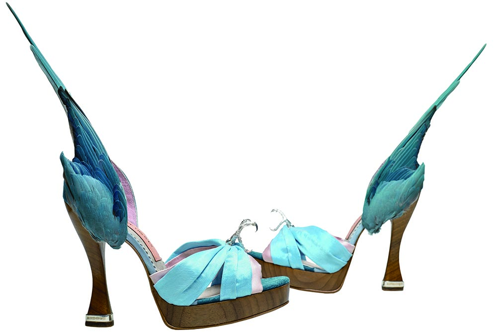 Parakeet shoes by Caroline Groves